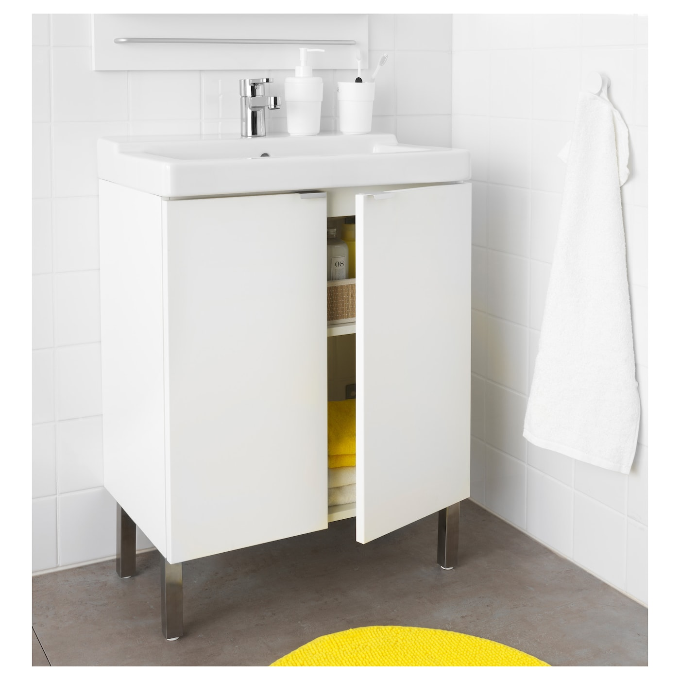 lill ngen t lleviken washbasin cabinet with 2 doors white 60x41x87 cm ikea. Black Bedroom Furniture Sets. Home Design Ideas