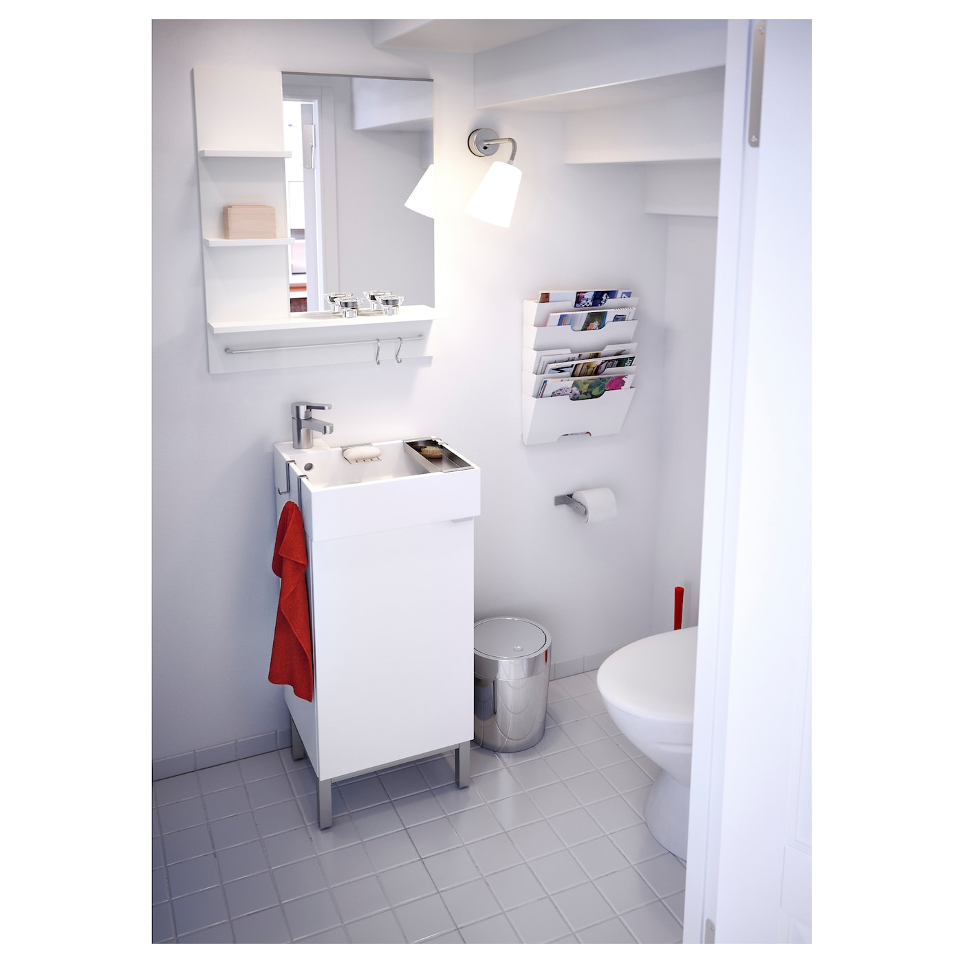 Lill ngen wash basin cabinet with 1 door white 40x38x64 cm for Bathroom cabinets 40cm wide