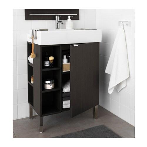 lill ngen washbasin cab 1 door 2 end units black brown 60x41x92 cm ikea. Black Bedroom Furniture Sets. Home Design Ideas