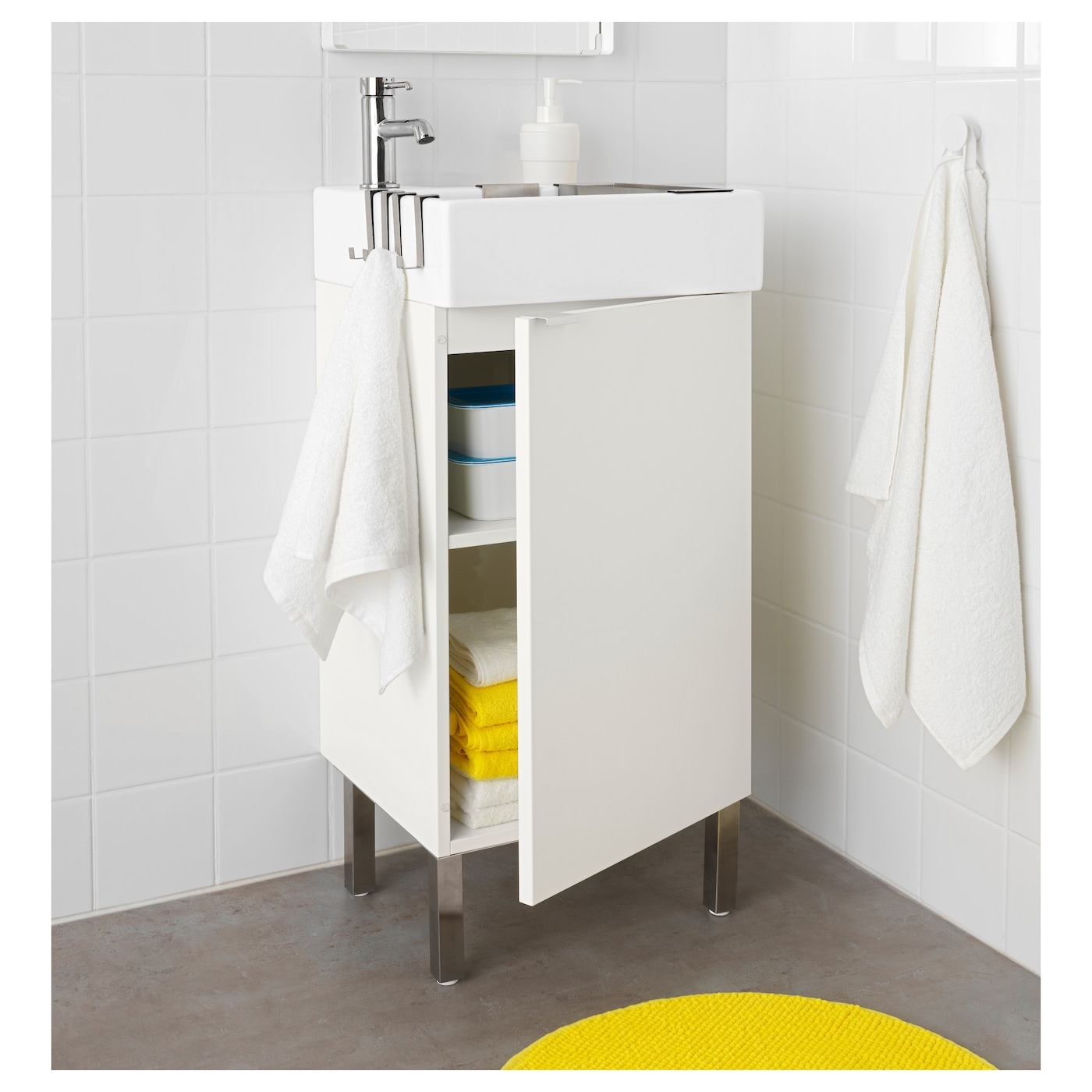 lill ngen washbasin cabinet with 1 door white 41 x 41 x 92 cm ikea. Black Bedroom Furniture Sets. Home Design Ideas