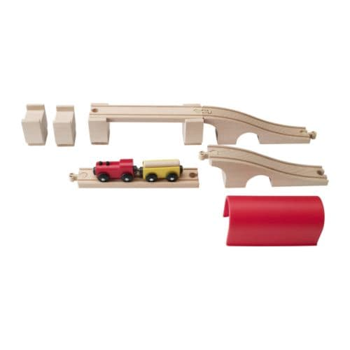 IKEA LILLABO 12-piece train set, bridge, tunnel Develops fine motor skills and logical thinking.