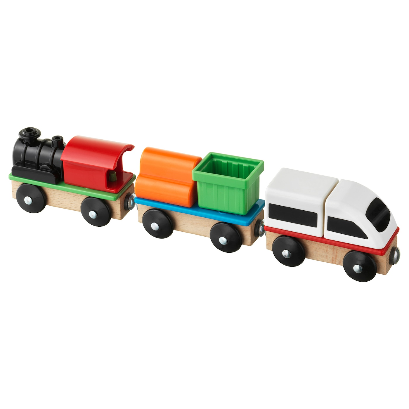IKEA LILLABO 3-piece train set Develops your child's concentration skills and hand-eye coordination.