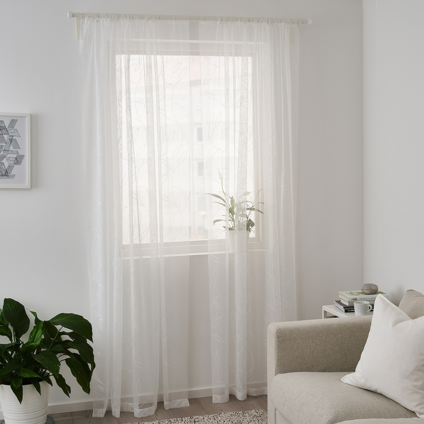 Lillegerd White Leaves Sheer Curtains 1 Pair 145x250 Cm Ikea