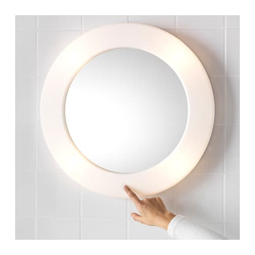 Lilljorm mirror with integrated lighting 55 cm ikea for Miroir rond ikea