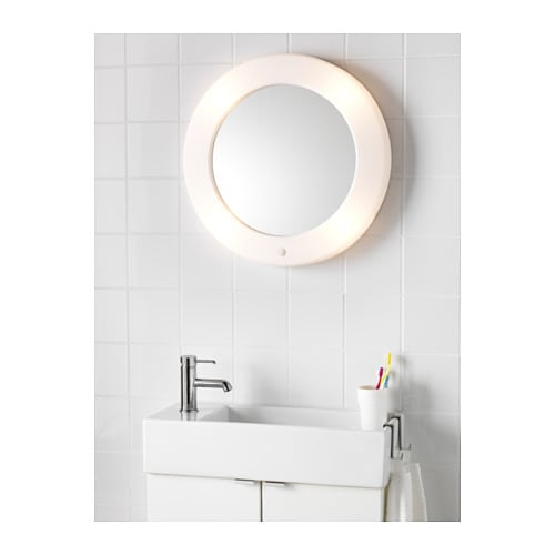 Lilljorm mirror with integrated lighting 55 cm ikea for Miroir avec lumiere