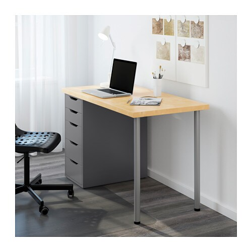 Linnmon alex table birch grey 120x60 cm ikea for Schreibtisch 120x60