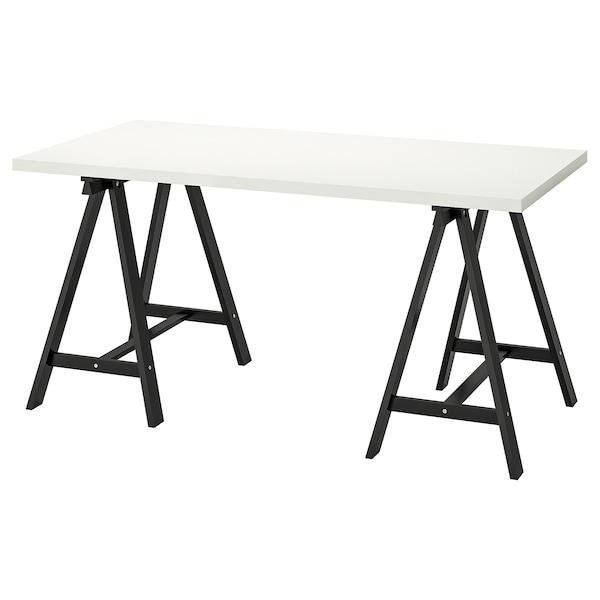 LINNMON / ODDVALD Table, white/black, 150x75 cm