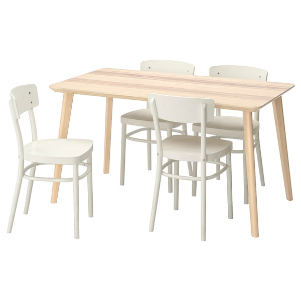 Prime Table And 4 Chairs Lisabo Idolf Ash Veneer White Alphanode Cool Chair Designs And Ideas Alphanodeonline