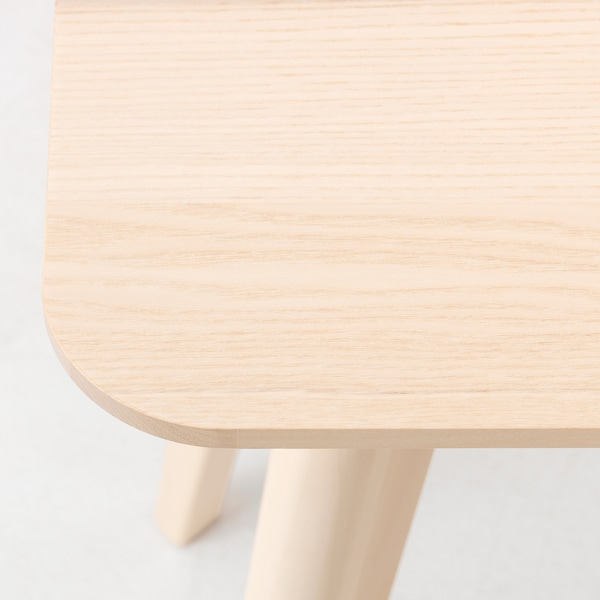 LISABO / JANINGE Table and 4 chairs, ash veneer/white, 140x78 cm