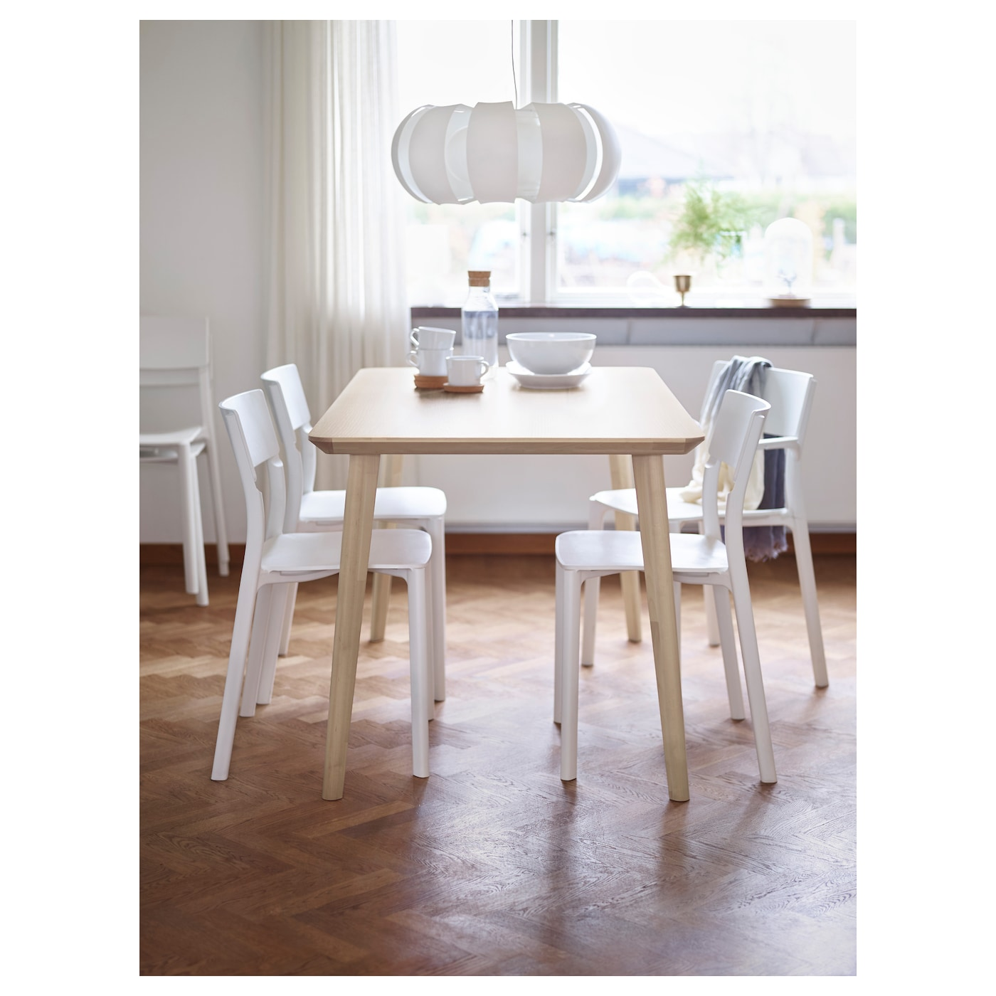 Lisabo table ash veneer 140x78 cm ikea for Table salle manger ikea