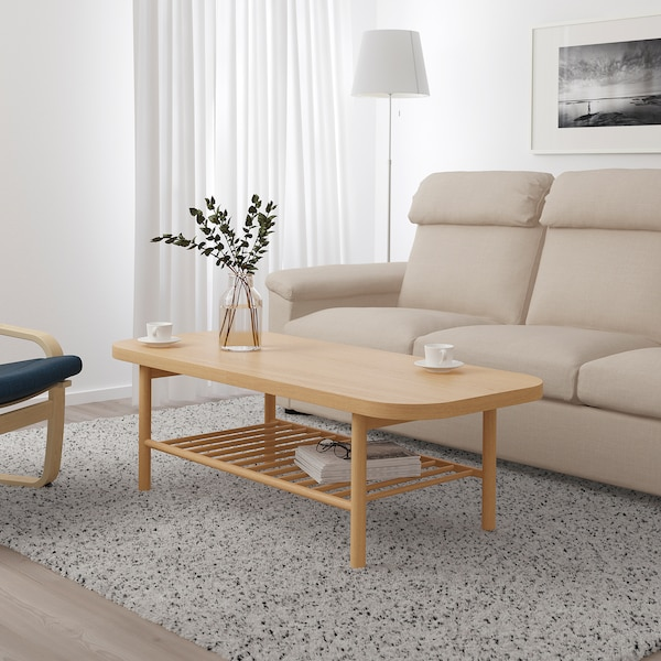 LISTERBY Coffee table, white stained oak, 140x60 cm