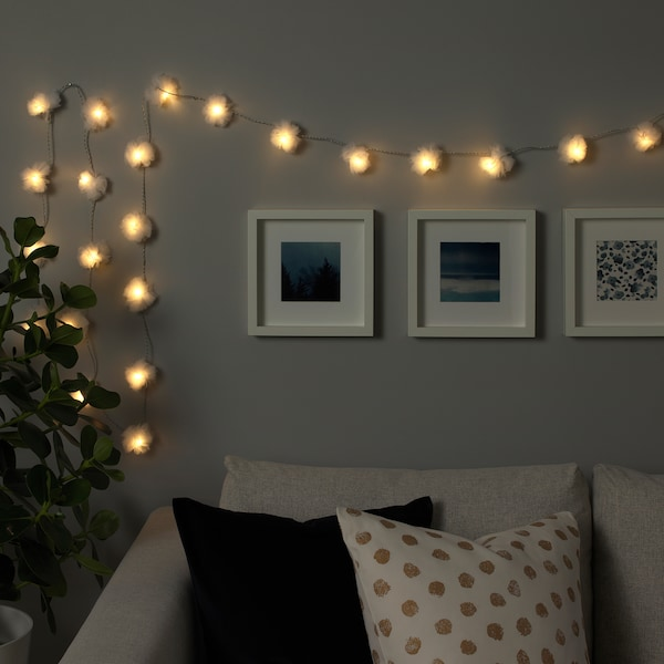 LIVSÅR LED lighting chain with 24 lights, indoor/tulle white