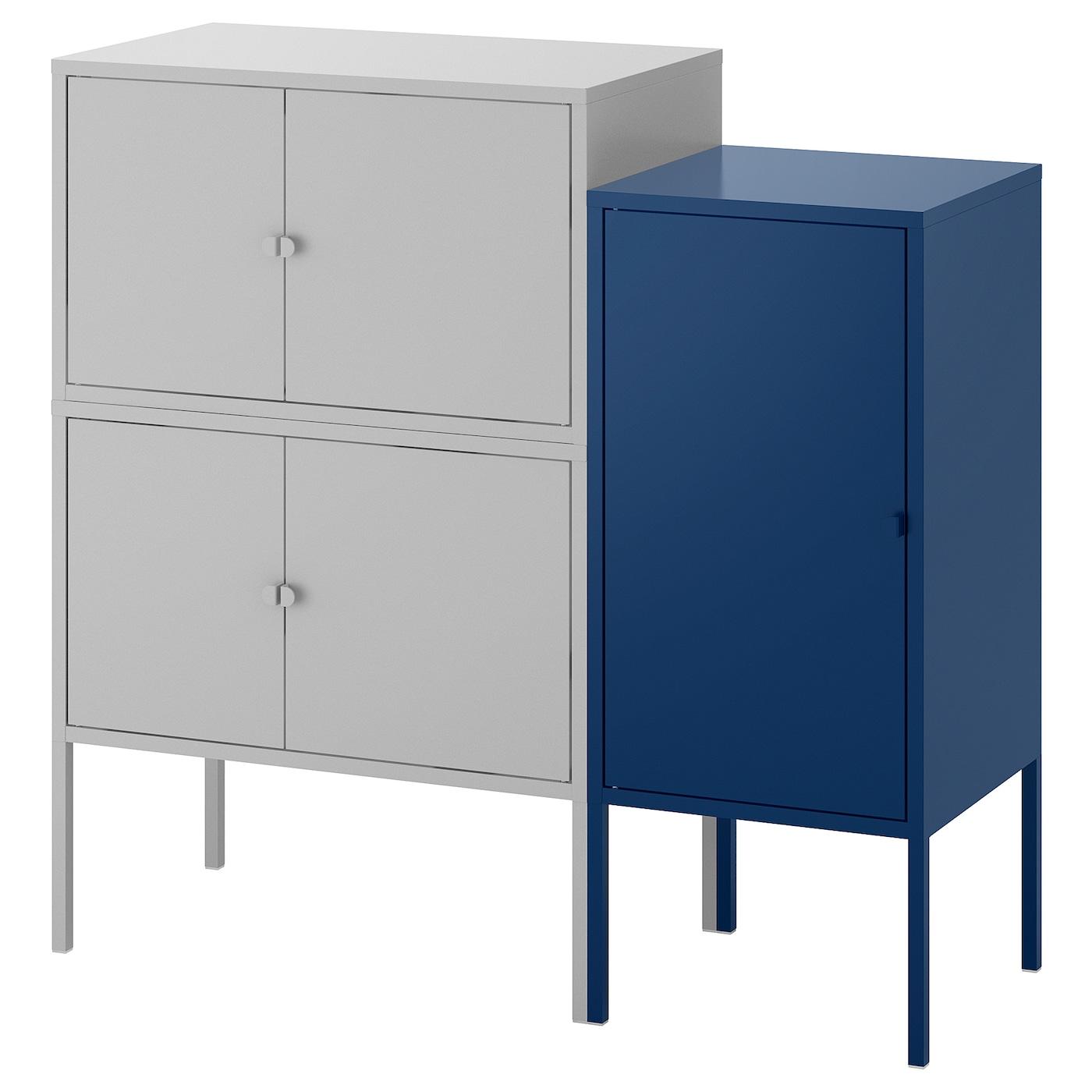 Lixhult Cabinet: LIXHULT Cabinet Combination Grey/dark Blue 95 X 35 X 92 Cm
