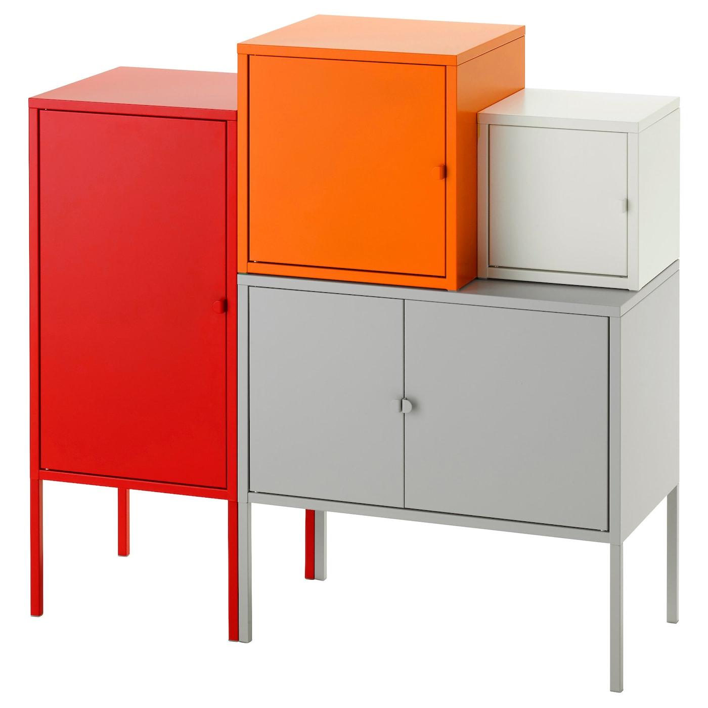 LIXHULT Storage Combination Grey White Orange Red 95x92 Cm IKEA