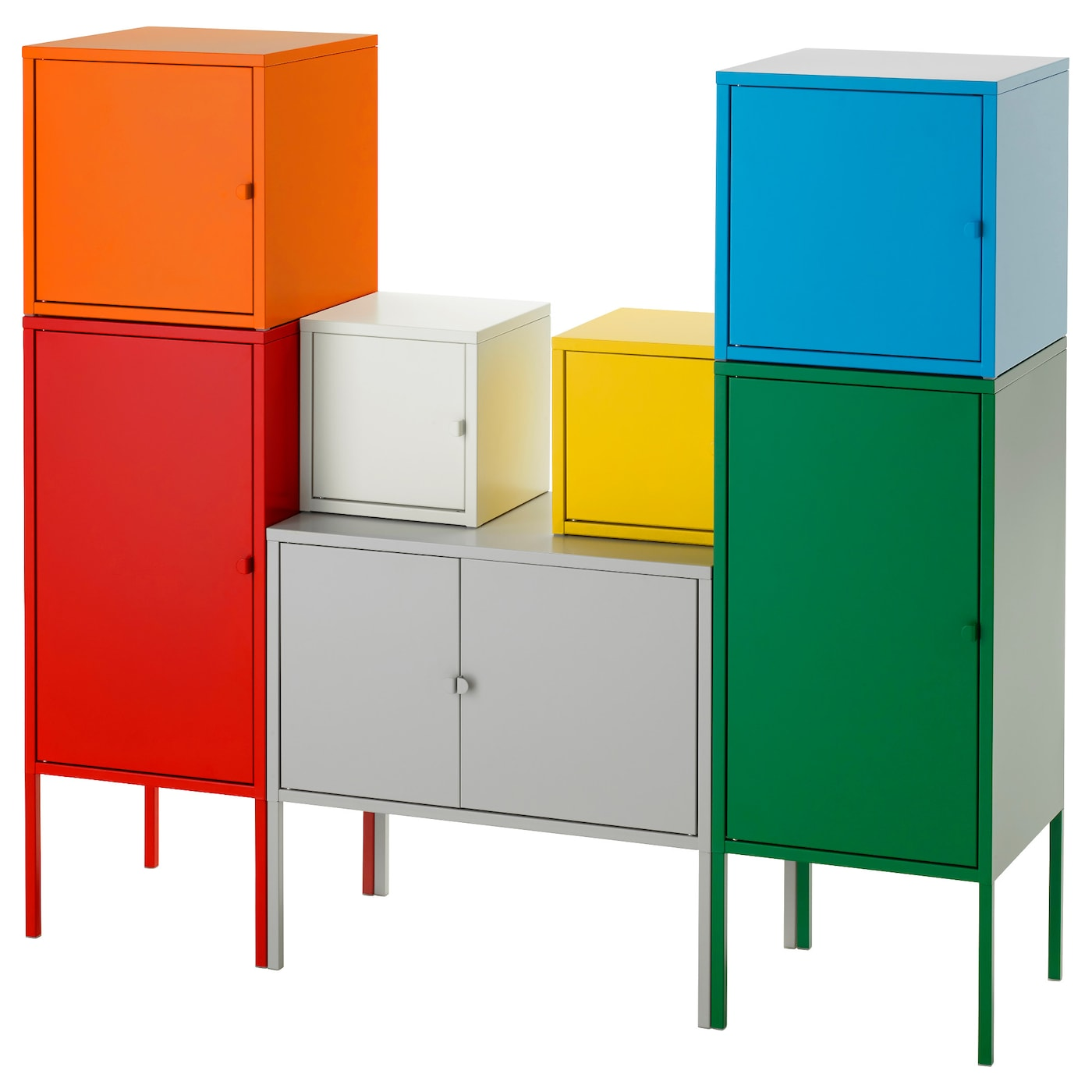 Lixhult storage combination white green blue yellow red for Metal lockers ikea