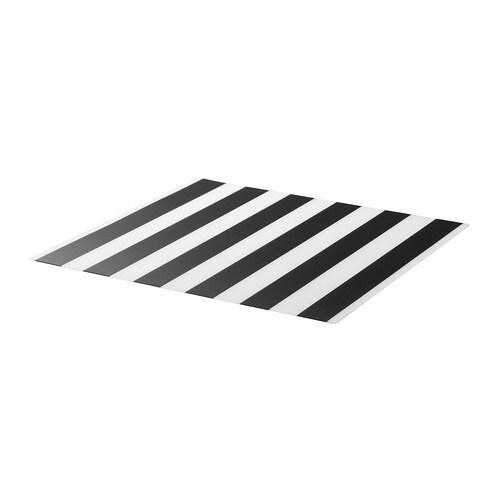 LJUDA Place mat, striped, black/white