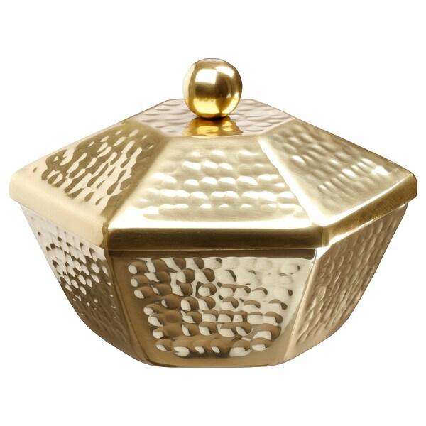 LJUVARE Serving bowl with lid, gold-colour, 16 cm