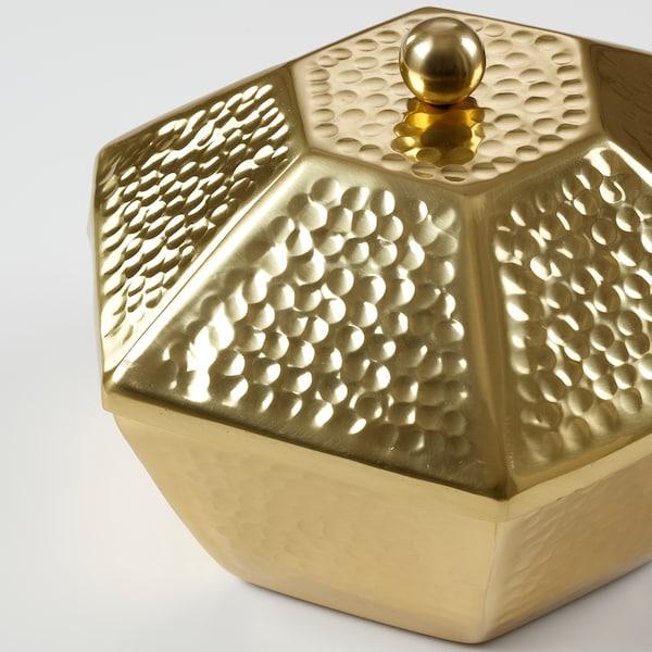 LJUVARE Serving bowl with lid, gold-colour, 25 cm