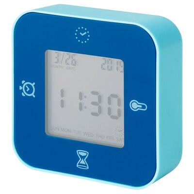 LÖTTORP Clock/thermometer/alarm/timer, blue