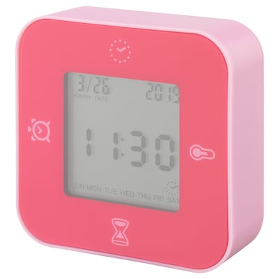 LÖTTORP Clock/thermometer/alarm/timer, pink
