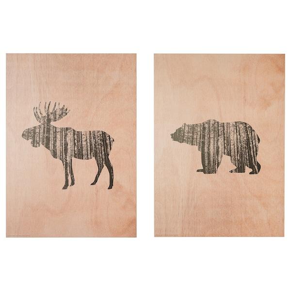 LOKABRUNN art print on wood Wild animals 50 cm 70 cm 2 pack
