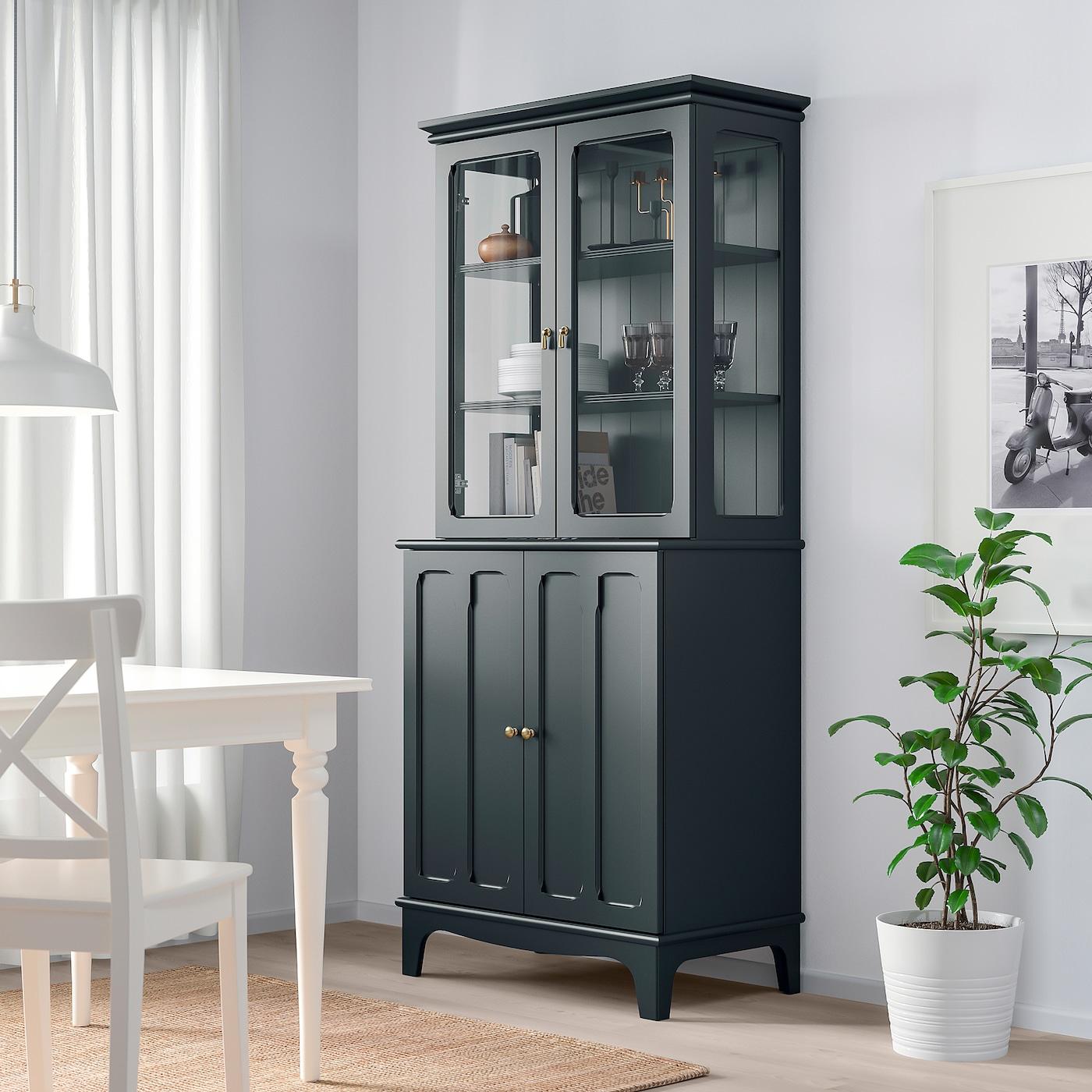 LOMMARP dark blue green, Cabinet with glass doors, 20x20 cm   IKEA