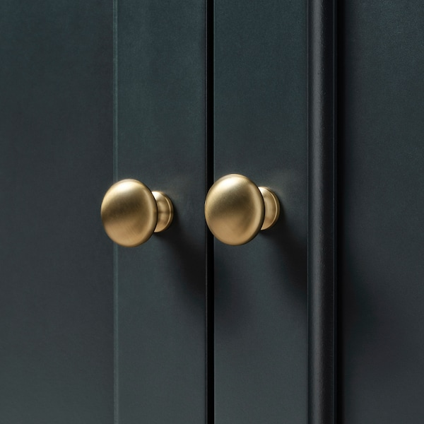 LOMMARP cabinet with glass doors dark blue-green 86 cm 49 cm 199 cm 28 kg