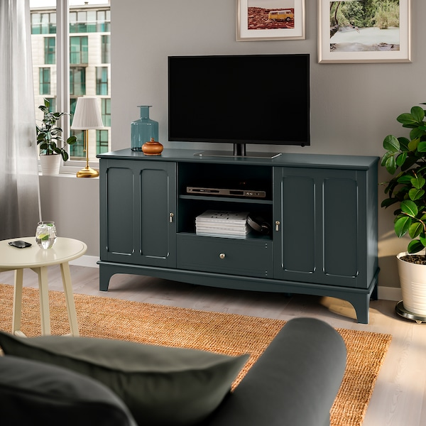 LOMMARP TV bench dark blue-green 50 kg 159 cm 45 cm 81 cm 19 kg 15 kg