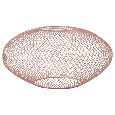 LUFTMASSA Lamp shade, rose-gold colour oval patterned, 37 cm