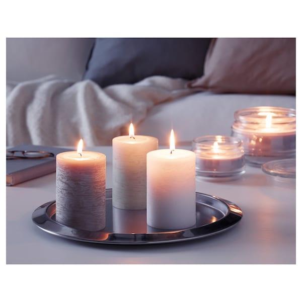 LUGGA Scented block candle, Soft vanilla/beige, 10 cm