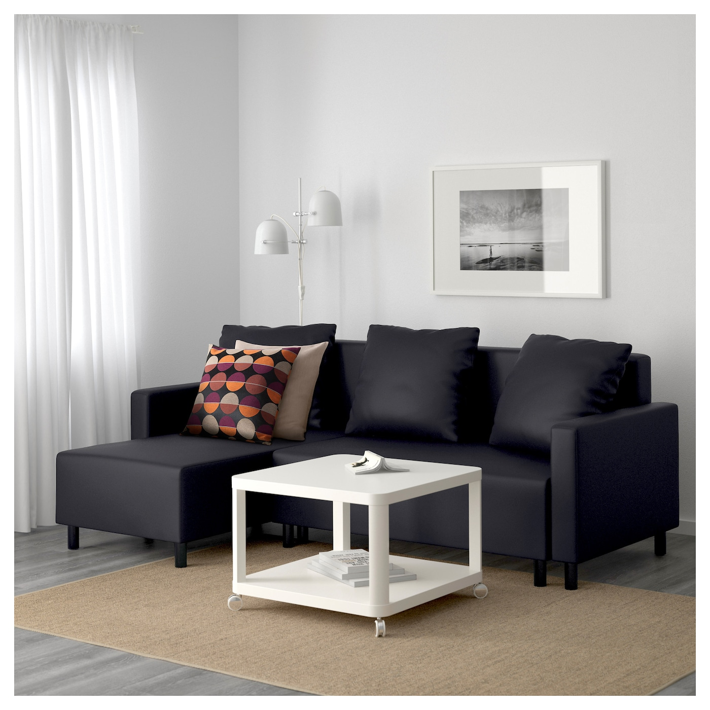 IKEA LUGNVIK sofa bed with chaise longue Sofa, chaise longue and double bed in one.