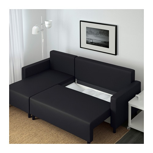 Lugnvik sofa bed with chaise longue gran n black ikea for Chaise longue sofa cama