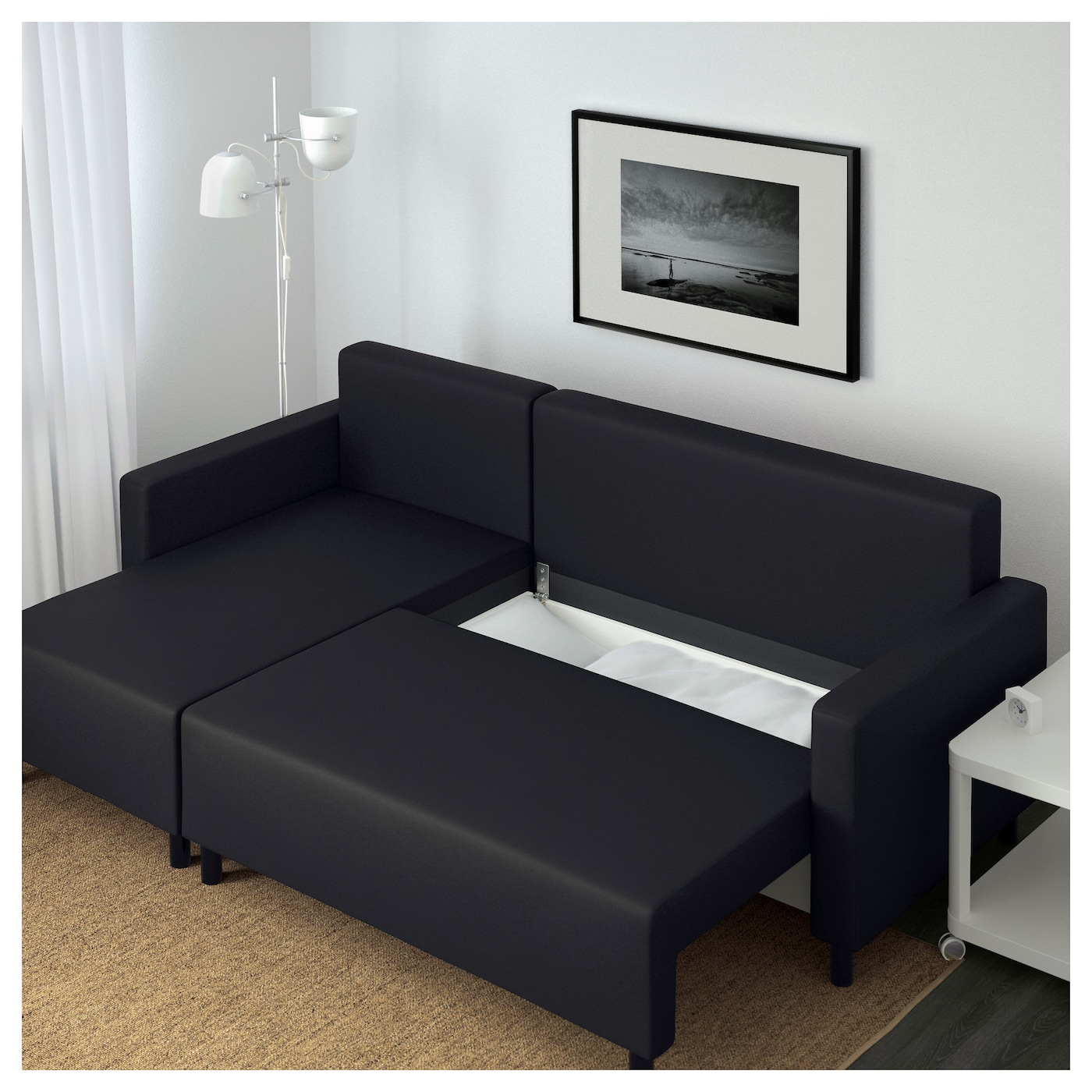 Lugnvik sofa bed with chaise longue gran n black ikea Ikea divan beds