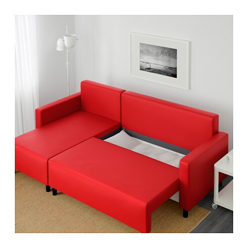 LUGNVIK Sofa bed with chaise longue Tallsen red IKEA