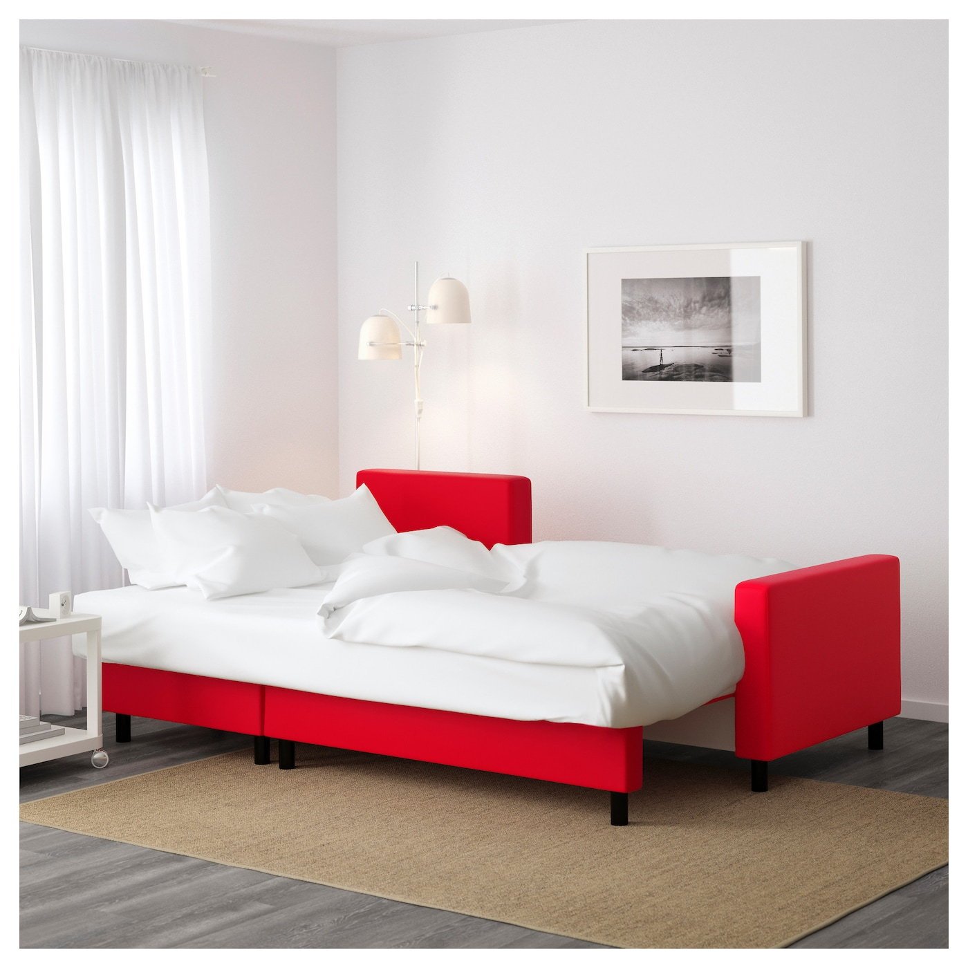 Lugnvik sofa bed with chaise longue tall sen red ikea for Chaise longue bed