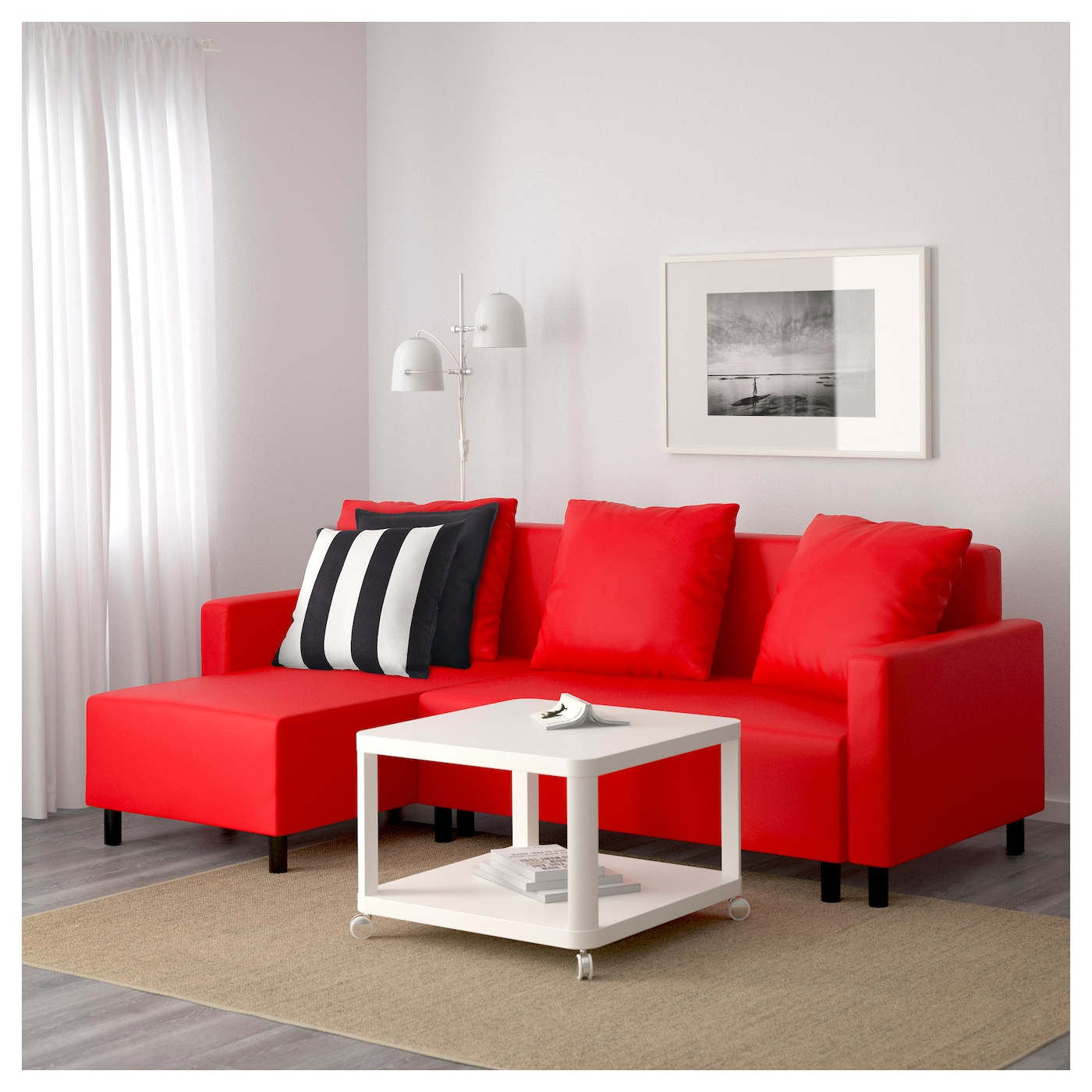 Lugnvik sofa bed with chaise longue tall sen red ikea for Bed chaise longue
