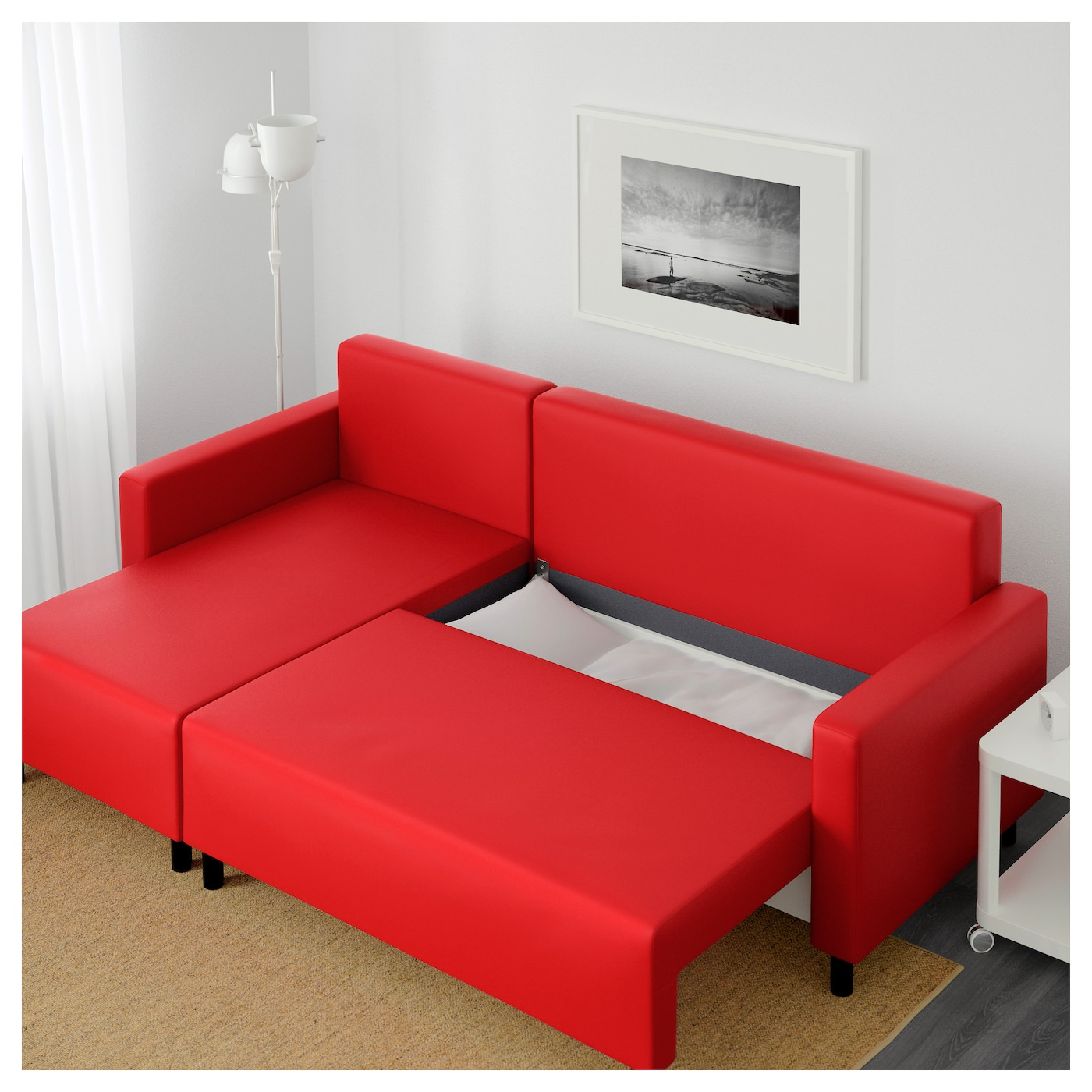 Lugnvik sofa bed with chaise longue tall sen red ikea for Chaise longue double sofa bed