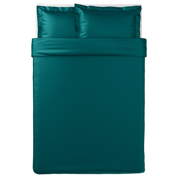 LUKTJASMIN Quilt cover and 2 pillowcases, dark green, 200x200/50x80 cm