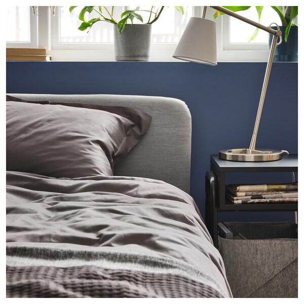 LUKTJASMIN Quilt cover and 2 pillowcases, dark grey, 200x200/50x80 cm