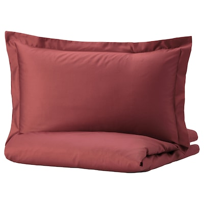 LUKTJASMIN Quilt cover and pillowcase, red-brown, 150x200/50x80 cm
