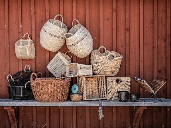 LUSTIGKURRE Basket, natural water hyacinth/seagrass, 33x46x37 cm