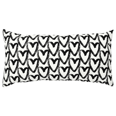 LYKTFIBBLA Cushion, white/black, 30x58 cm