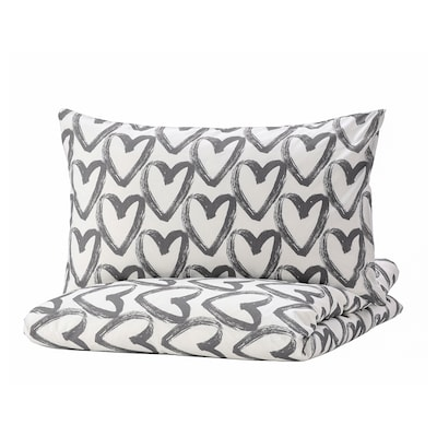 LYKTFIBBLA Duvet cover and 2 pillowcases, white/grey, 200x200/50x80 cm