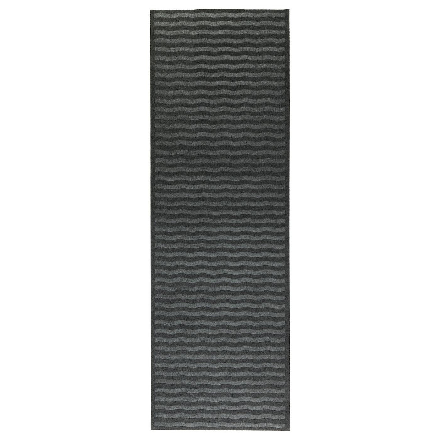 LYNÄS Rug, flatwoven Dark grey 65×198 cm  IKEA