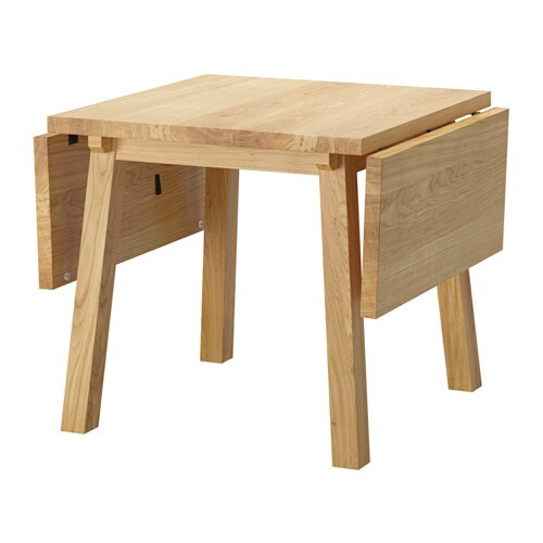 IKEA MÖCKELBY drop-leaf table The plank expression is enhanced by the design on the edges.