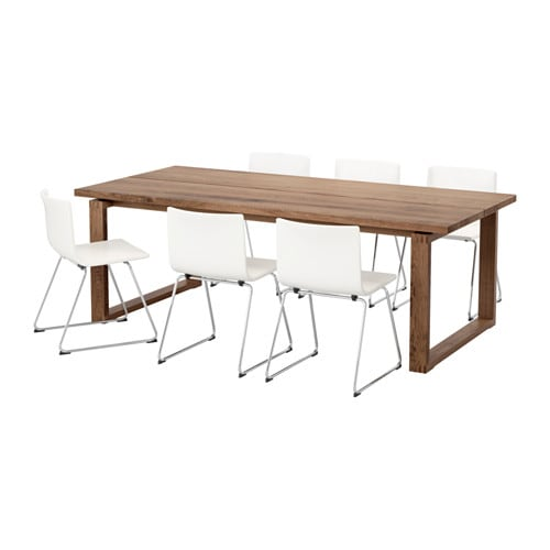 M rbyl nga bernhard table and 6 chairs brown kavat white for Table 220x100