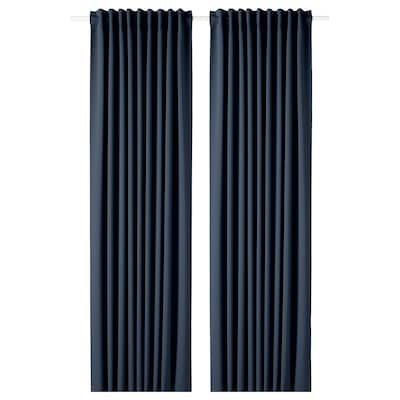 MAJGULL Block-out curtains, 1 pair, dark blue, 145x250 cm