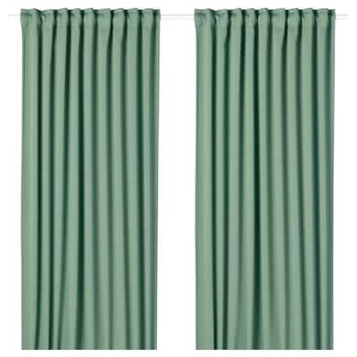 MAJGULL Block-out curtains, 1 pair, green, 145x250 cm
