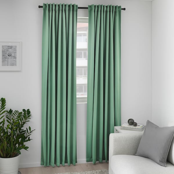 MAJGULL Block-out curtains, 1 pair, green, 145x250 cm