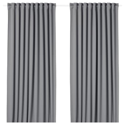 MAJGULL Block-out curtains, 1 pair, grey, 145x250 cm